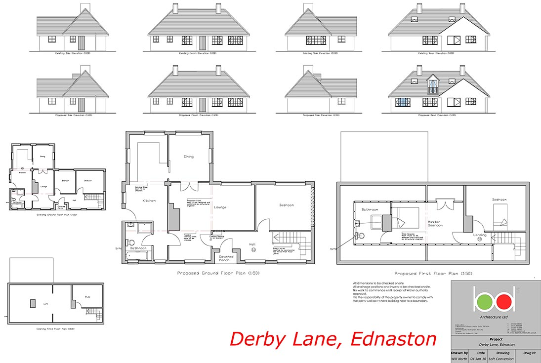 Ednaston Loft Conversion plan Drawing
