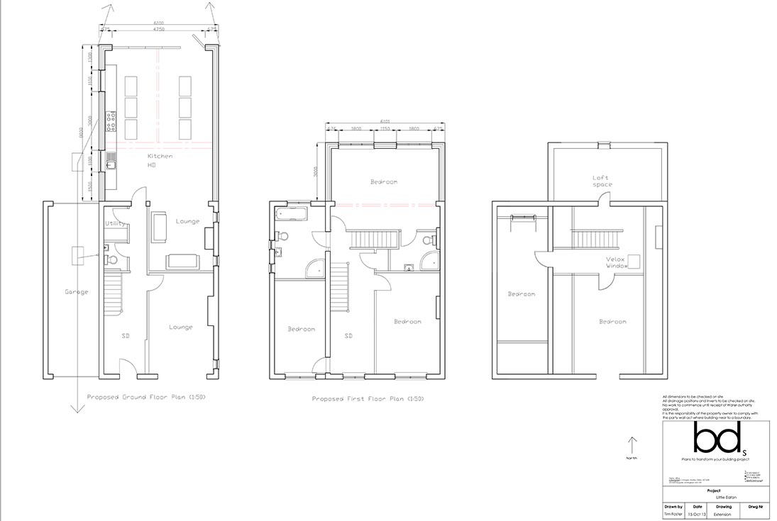 Little Eaton 2 Storey Kitchen & Bed Extension Plan Drawing